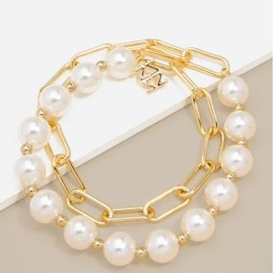 Layered Pearl & 18k plated Link Bracelet